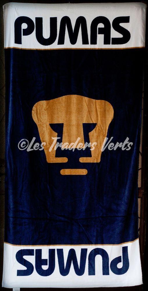 PUMAS UNAM Beach Towel Blue White Gold 54x27 New NWT Toalla Playa Futbol Mexico #PumasUNAM