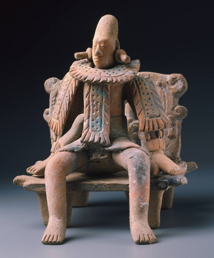 Late Classic, Maya Enthroned Ruler, A.D. 600–800 Ceramic with polychrome pigment figure: Jaina, Maya Area, Campeche, Mexico