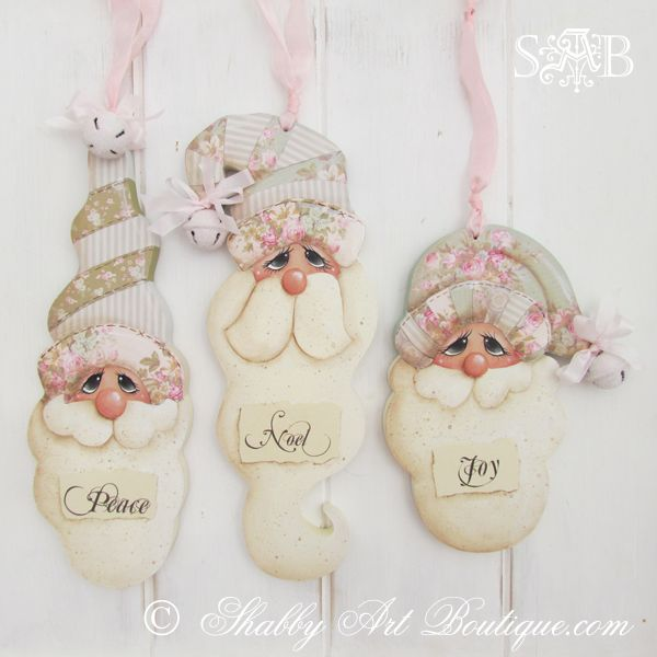 This set of 3 shabby vintage Santa's are now available as an E-pattern in my Boutique - http://bit.ly/Zei3qf This decorative painting and decoupage design is cut from wood using a scroll saw. The E-pattern costs AU$8