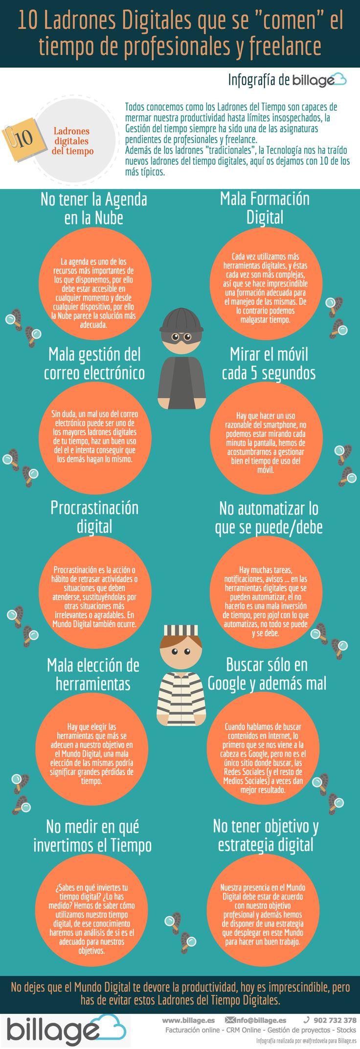 """10 Ladrones Digitales que se """"comen"""" el tiempo de profesionales y freelance #infografia"""