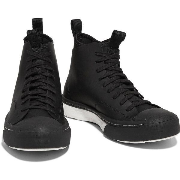 Converse Leather high-top sneakers (€79) ❤ liked on Polyvore featuring shoes, sneakers, high-top sneakers, black high tops, leather sneakers, converse high tops and black high top sneakers