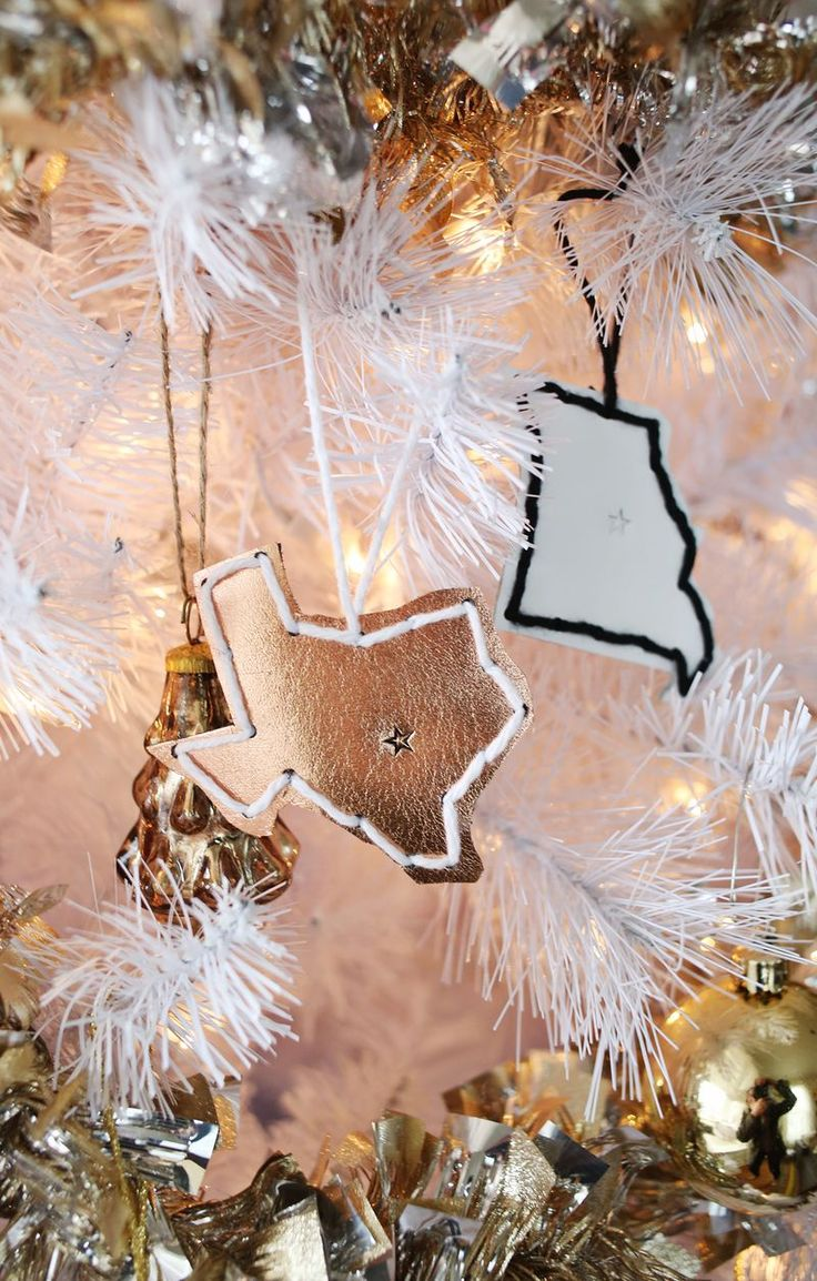 Looking for christmas ornaments - Leather State Ornaments Via A Beautiful Mess