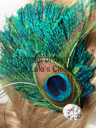 Peacock feather clip & brooch w/jewel