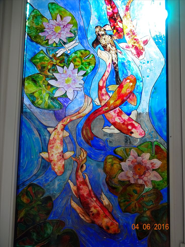 роспись оконного стекла витражными красками
