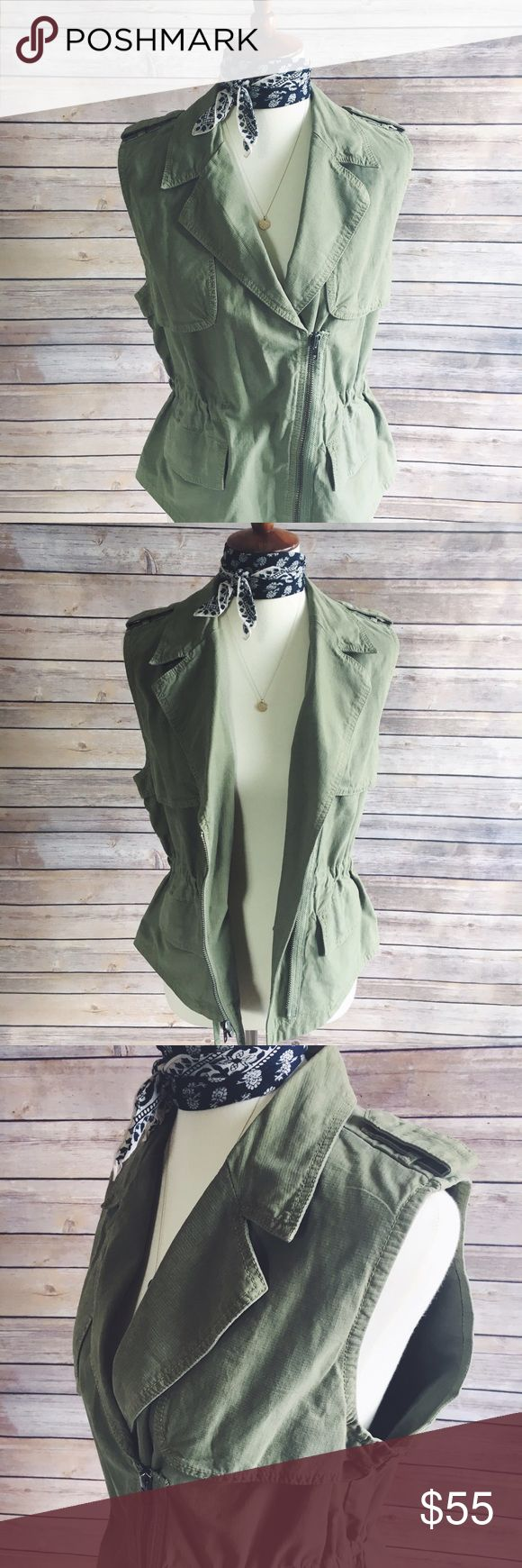Madewell Modern Safari Vest Combining the best elements of a biker vest (check out the diagonal zip) and a flak jacket (see epaulets and roomy pockets), it's a just-right layering piece for cool summer nights. Hardly worn!   True to size. Cotton with a hint of stretch. Machine wash. Import. Item A5049. Madewell Jackets & Coats Vests