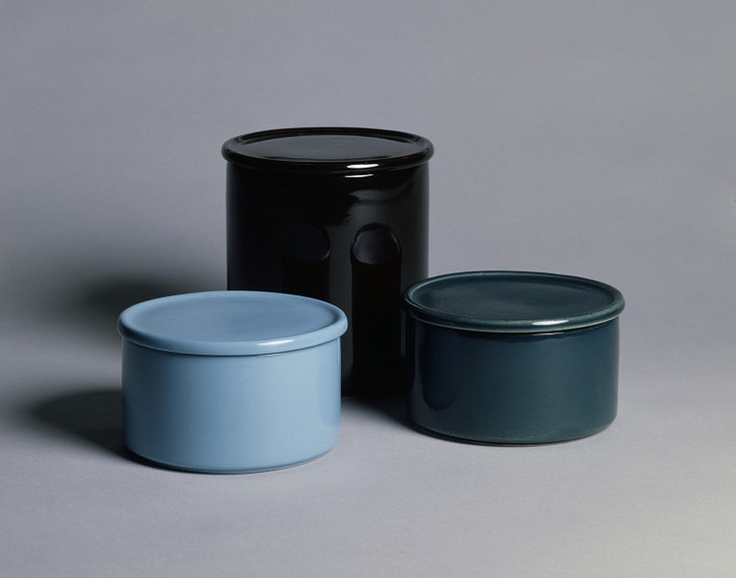 blue glazed jars and covers | kaj franck kilta