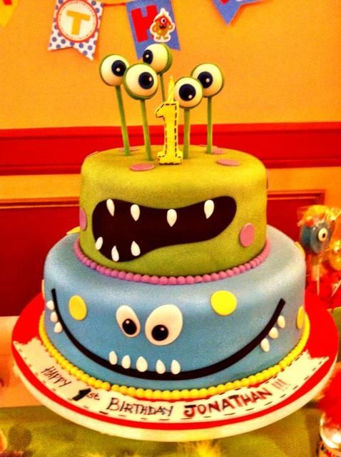 Funny Monster Cake. See more party ideas at CatchMyParty.com. #monsterpartyideas