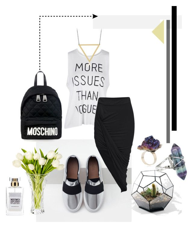"""""""F.."""" by deluniq on Polyvore featuring Zara, Moschino, Marquis by Waterford, ADORNIA and MEMO"""