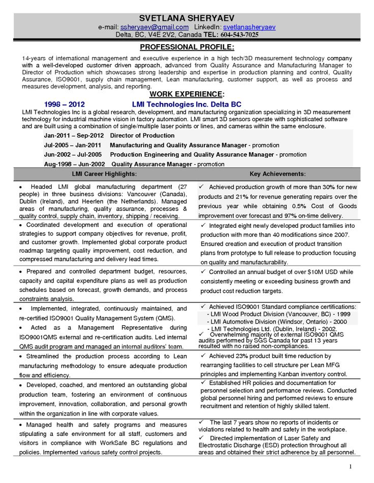 11 Manufacturing Manager Resume | Riez Sample Resumes
