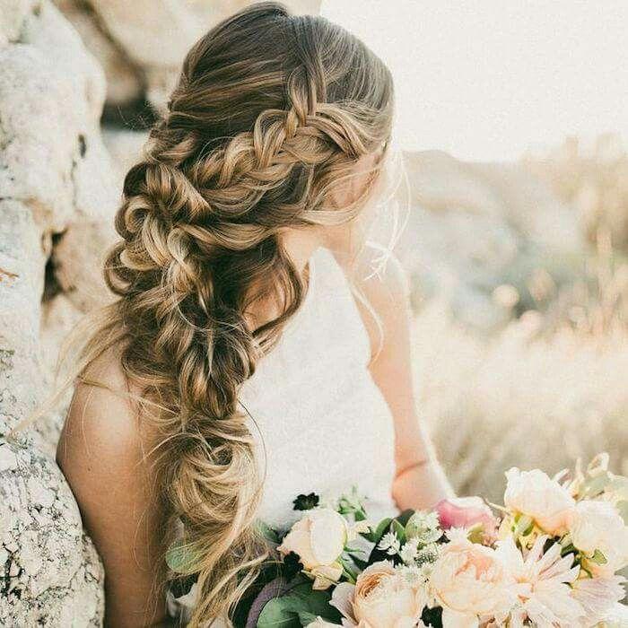 Messy side braids wedding