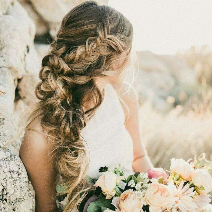 Messy side braids wedding