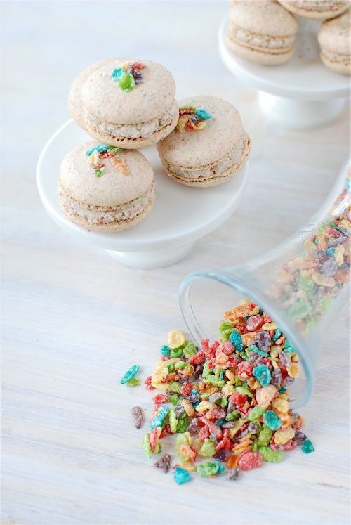 The marriage of a classic French pastry and a favourite childhood cereal: Fruity Pebble Macarons. #macarons #cereal #breakfast #food #baking #dessert #French #pastry