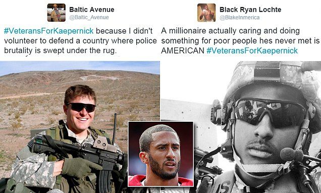 Vets show support for Colin Kapernick's protest on Twitter