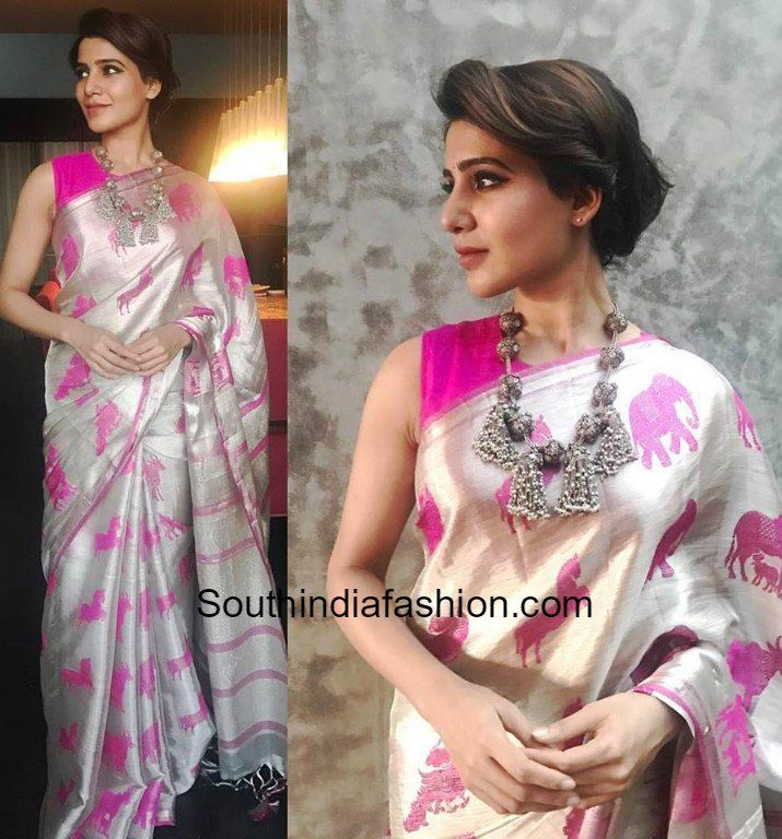 Samantha Prabhu in a white animal design saree