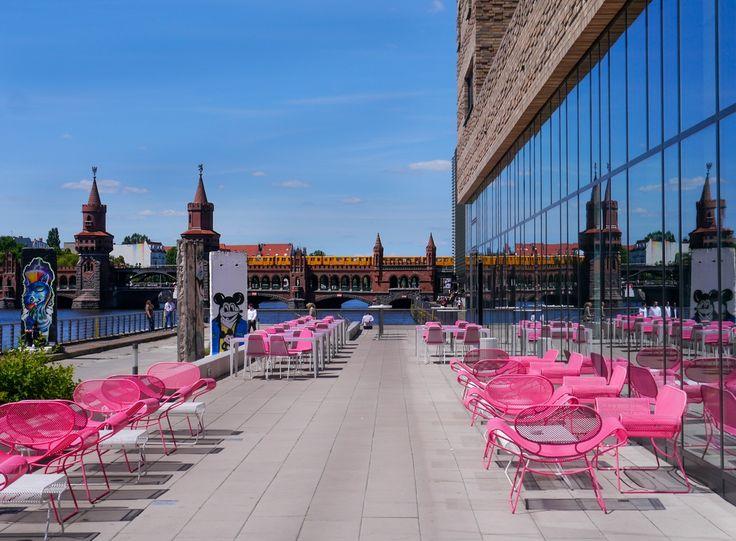 ღღ Berlin, Germany ~~~ Terrace at the nHow Berlin Hotel. Oberbaumbrücke in the background