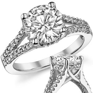 I just love split shanks. 8mm RB or OEC? Round Moissanite Split Shank Trellis Engagement Ring