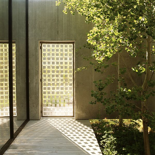 floating concrete walls allow the seamless flow of plants from outside the house into this entrance court.  Really interesting door - especially once you study its shadow.  Wood River Valley, Ketchum, Idaho.  Designed by Lutsko Associates