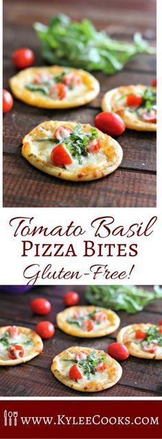 Tomato, basil & mozzarella feature in these 5-ingredient gluten-free pizza bites. Super easy to make, delicious and totally addictive! [ad] via /kyleecooks/