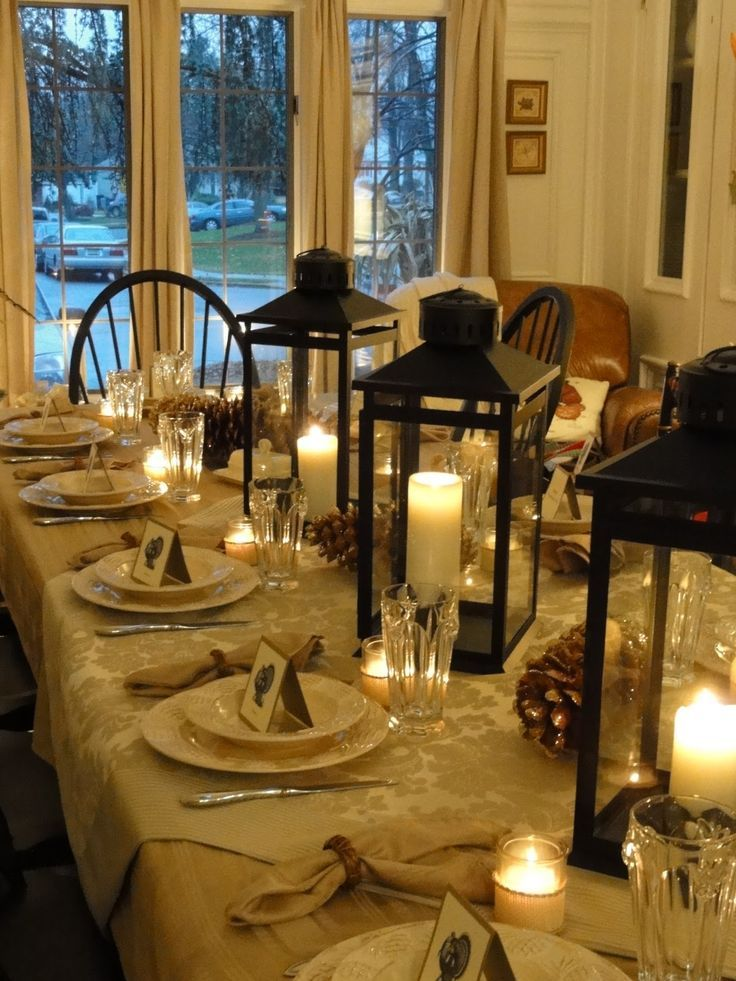 I Have Lanterns Left Over From My Wedding Still This Is A Perfect Idea Thanksgiving Or Christmas Table Settings