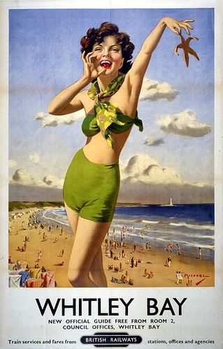 """Beside the seaside Description: Poster from the newly nationalised British Railways, advertising Whitley Bay in North Tyneside. Signed """"Michael""""."""