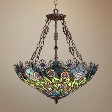 Peacock Feather 3-Light Tiffany Art Glass Pendant - #W3150 | LampsPlus.com