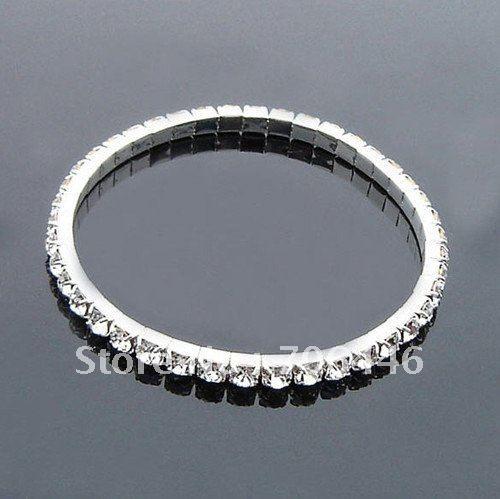 Мода 1-рядная Горный Хрусталь упругой браслет, мода горный хрусталь, ювелирные изделия браслет, мода серебряный браслет горный хрусталь