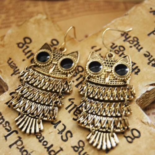 Retro Owl Drop Earrings