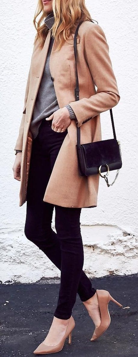 #thanksgiving #fashion ·  Camel Coat // Grey Sweater // Black Skinny Jeans  // Camel Pumps // Black Suede Shoulder Bag