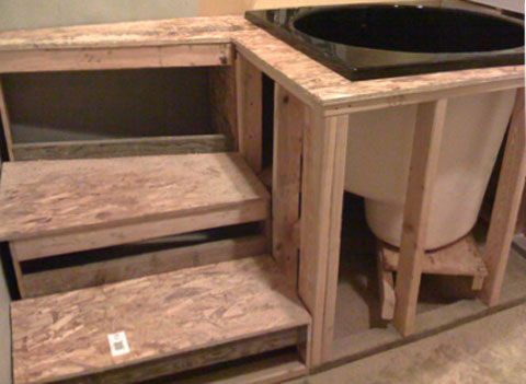 soaking tub   japanese tub Japanese Ofuro Soaking Tubs What about something with integrated steps could this have the same footprint as a traditional bathtub?