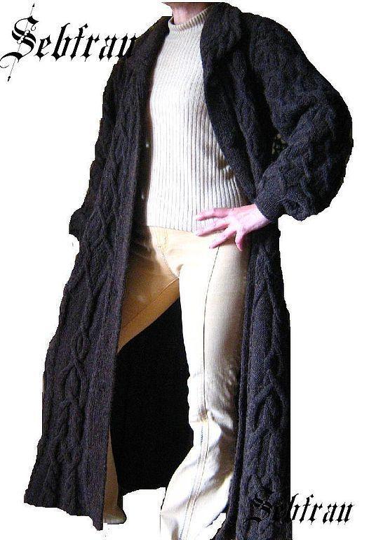 """Купить Женское вязанное пальто на спицах """"Княгиня Ольга"""", авторская работа - ручное вязание"""