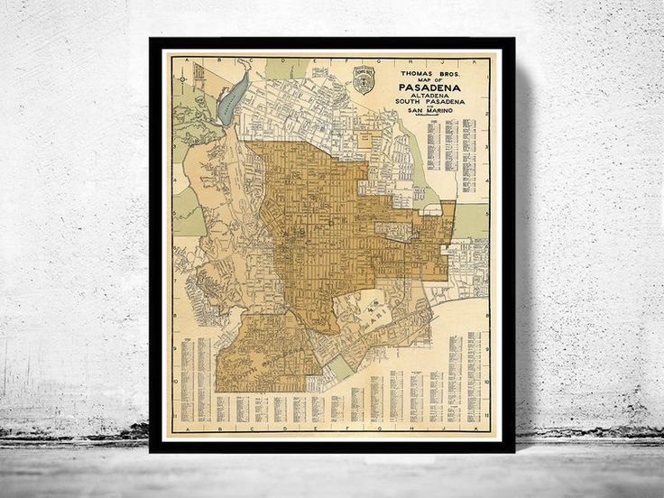Old Map of Pasadena California 1920 - product image