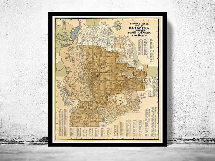 Old Map of Pasadena California 1920 - product image