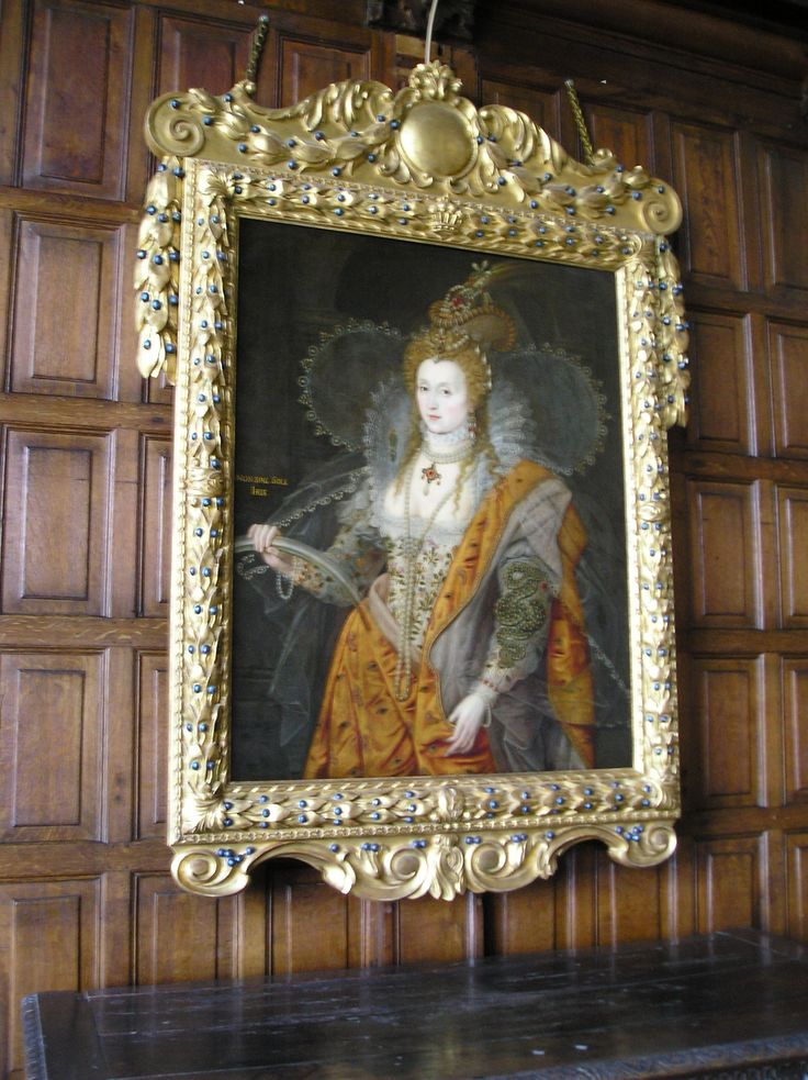 Elizabeth's portrait in Hatfield House, called The Rainbow Portrait. Her cloak is decorated with eyes and ears to denote how Elizabeth sees all and hears all.