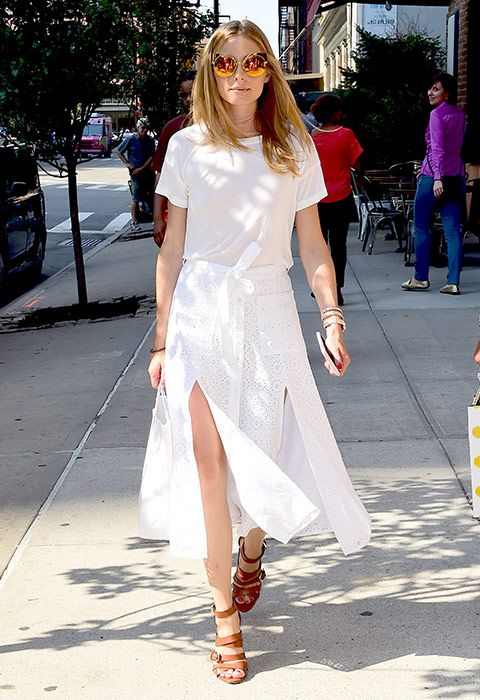 Olivia Palermo just shut down any summer what-to-wear 'mares with this all-white spliced skirt get-up
