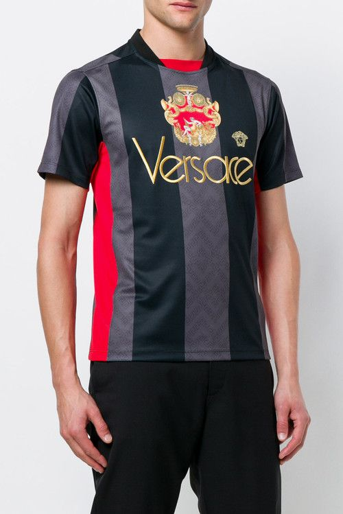 d5ea07632 Versace Summer 2018 Soccer Jersey football shirt black grey stripe red gold  release date info drop via gesu medusa head logo branding crown