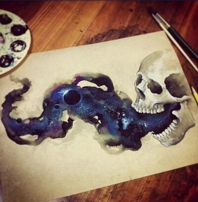 great!! tattoo design, skull painting, watercolor skull galaxy painting Repin & Follow my pins for a FOLLOWBACK!