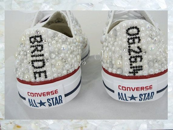 b761fdfe7077 luxury pearl sparklers all over converse bridal converse wedding converse  pearl converse customised converse prom converse