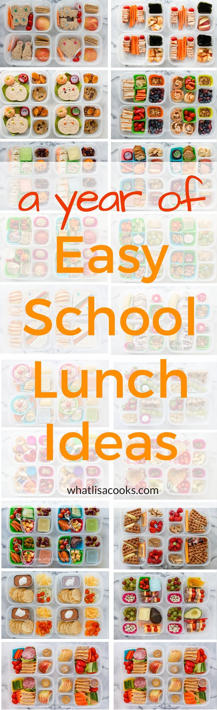 A whole year of easy school lunch packing ideas from WhatLisaCooks.com. If you need ideas for what to pack for school lunch, look no further!