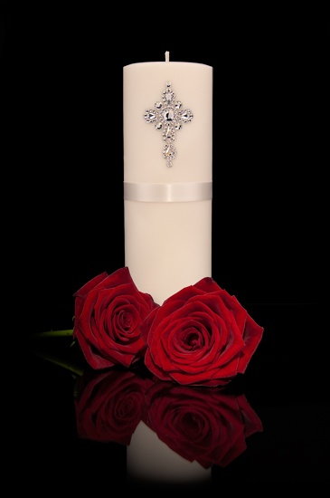 Opulent wedding pillar candle with Swarovski crystal design & red roses - possible unity candle idea.