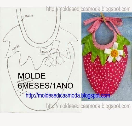 Molde de babete para bébe. Imprima o molde. O molde não tem margem de costura. Depois de acrescentar a margem de costura corte no tecido a parte verde e a