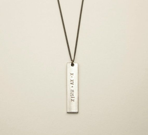 SILVER BAR Necklace // Customized Modern Rectangle Bar // Personalized Tag on Custom Chain // Personalized Mens Necklace // Bohemian Fringe