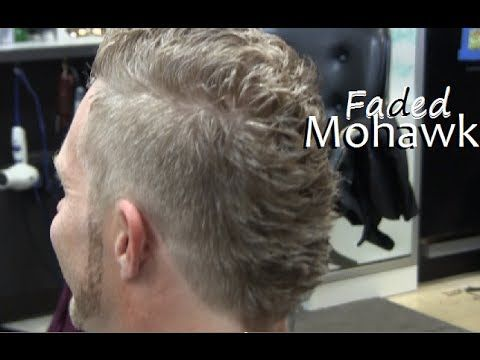 Mens mohawk hairstyle fade haircut video / Clipper cut on Blonde curly hair / Mens faded mohawk