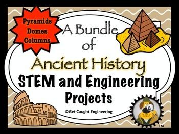 In world cultures, sixth grade students learn about Ancient Egypt, Greece, Rome, and China.  Challenge them to create a structure inspired by the ancient civilizations they are studying (repeat for each unit).