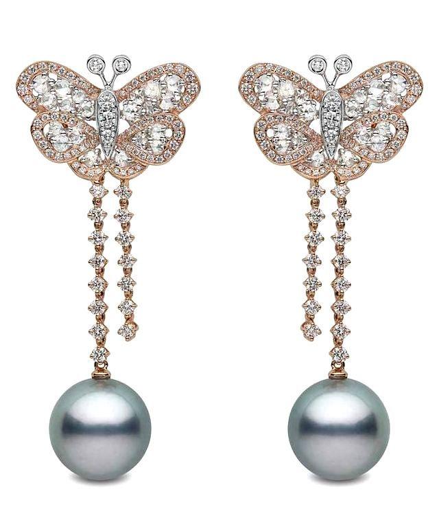 Yoko London pearl earrings in rose gold with diamonds and Tahitian pearls.