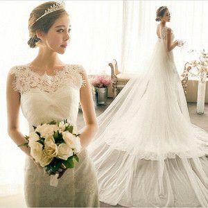 新作!花嫁ウェディングドレス パーティードレス 結婚式ブライダル 披露宴二次会 エンパイア 綺麗 wedding dress トレーリングロングドレス