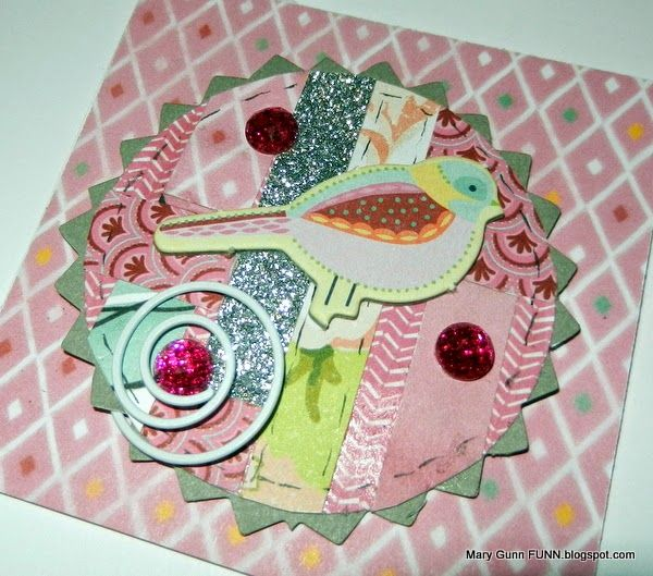 Mary Gunn FUNN - make this cute card featuring a magnetic medallion. This is pink in honor of October's Breast Cancer Awareness month.