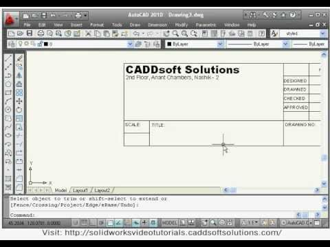 AutoCAD Video Tutorial Lessons - 8 (Title Block Creation & Insertion)