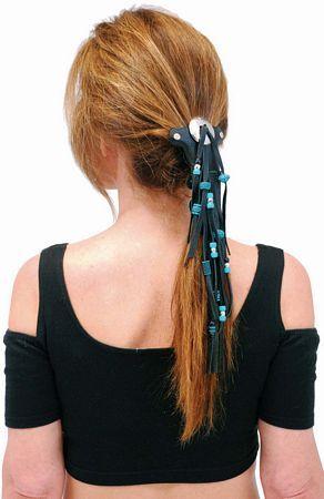 Short Turquoise Beaded Hair Tube