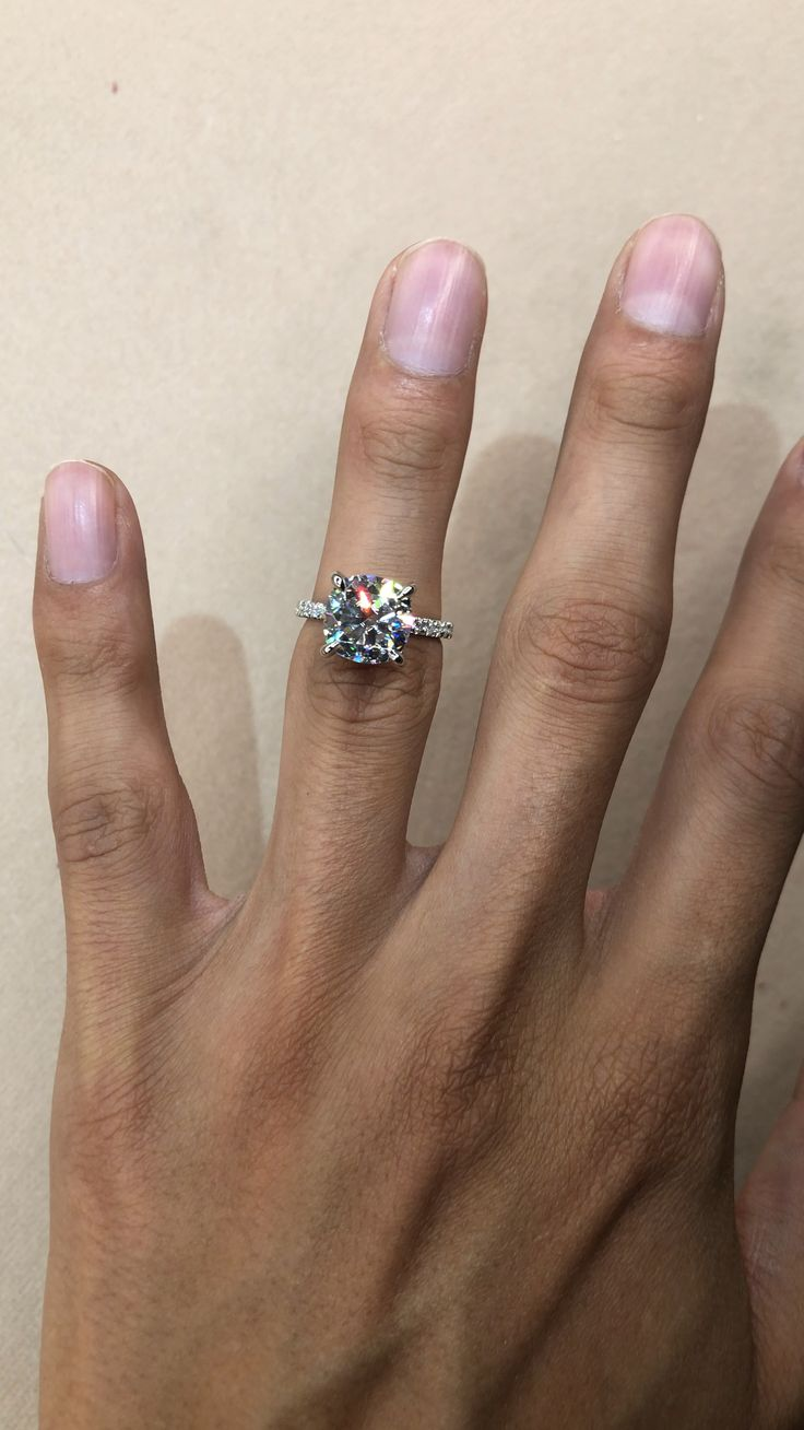 4 Carat Cushion Moissanite & Diamond Hidden Halo Engagement Ring