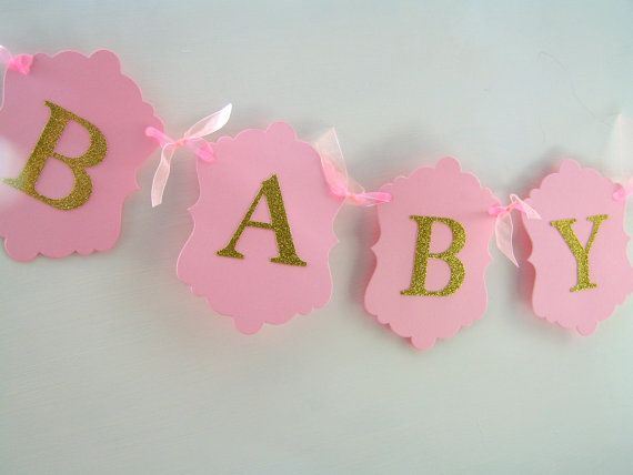 Baby Girl Banner Pale Pink & Gold Glitter Baby Shower by noolys, £8.00